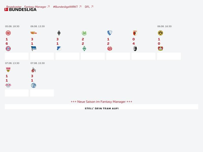 Screenshot von www.bundesliga.de