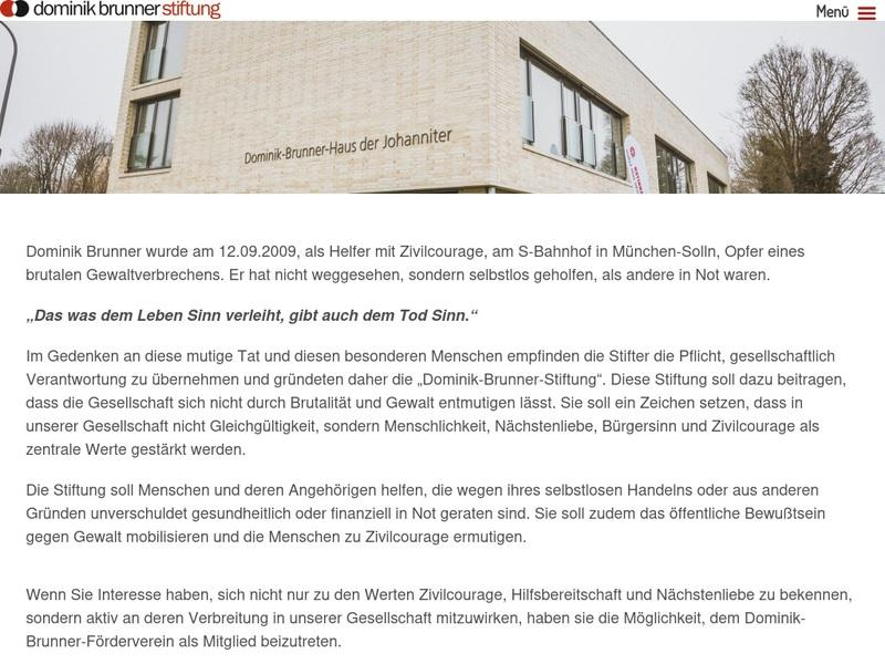 Screenshot von www.dominik-brunner-stiftung.de